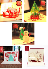 Five Pack Handmade 3D Pop Up Greeting Holiday Cards (4 Christmas + 1 Birthday)