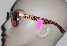 Betsey Johnson Clear & Orange 100% UV Plastic Sunglasses with Cheetah Print Arms