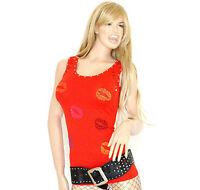 CANOTTA TOP donna maglietta maglia rosso sottogiacca cotone t-shirt camiseta 30C