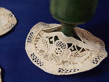 Vintage Crocheted Lace Stemware Cover Coaster Flower Linen Set of 3