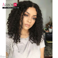 Malaysian Deep Curly 100% Virgin Human Remy Hair Front/ Full lace Wigs Baby Hair