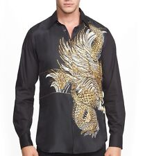 Just Cavalli Roberto Cavalli Eagle & Snake Print Silk Slim Fit Shirt EU 50 $395