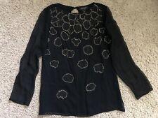 St John Long Sleeve Silk Embellished Blouse Size S Black Gold Evening Sheer