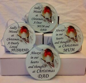ROBIN CHRISTMAS GLASS MEMORIAL REMEMBRANCE CHRISTMAS TREE HANGING DECORATION
