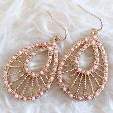 Vintage Womens Bohemian Hollow Gold-Color Metal Pink Beads Chandelier Earrings