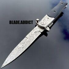 """8.5"""" Damascus Italian Stiletto Black SWIRL Spring Assisted Open Pocket Knife"""