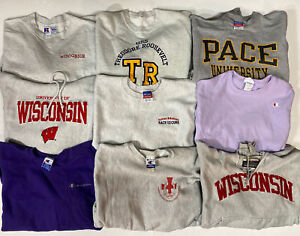 Wholesale Lot of 9 Vtg Champion Sweatshirts M/L Reverse Weave Sports College
