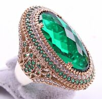 Turkish Handmade Jewelry 925 Silver Emerald Stone Ladies Woman Ring ALL SİZE us