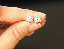 925 Silver Love studs earrings with gold color accent