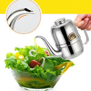 Olive Oil Pourer Dispenser Cooking Oil Jar Can Bottle Pot Stainless 24oz