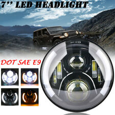 7 inch LED Halo Angel Eye Headlight Daymaker Projector For Jeep Wrangler Harley
