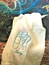 Personalised Embroidered Cotton Towel Ballerina Pointe Shoes Dancer Ballet Gift