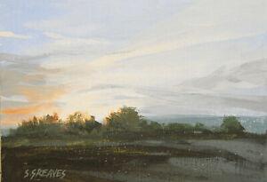 Brodsworth Sunset ORIGINAL LANDSCAPE PAINTING Steve Greaves Art English British