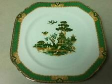Vintage, England Green Gaudy-Blue Willow, 8.5in Square Serving Dessert Plate