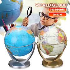 Dia 10.6cm Plastic Rotating World Globe Earth Map w/ Stand Kids Children Decor