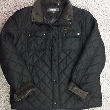 Mens sz Large Black Jacket coat by KENNETH COLE quilt pattern zip button