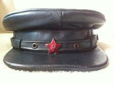 Vintage Russian Hat NKVD Officer Uniform Leather Visor Cap Enamel Red Star USSR