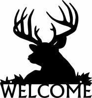 Deer Welcome Sign Buck Head - Metal - 12 inches - made in USA