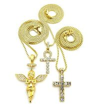 "Pave Cross, Ankh, Praying Baby Angel Pendant 24"", 27"" Box Chain 3 Necklace Set"