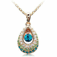 18K Rose Gold Plated Teardrop Colorful Diamond Crystals Necklace