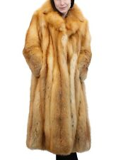 M/Medium BEAUTIFUL LONG RED FOX FUR ⅞ COAT WITH NOTCH COLLAR! w/FUR STORAGE BAG!