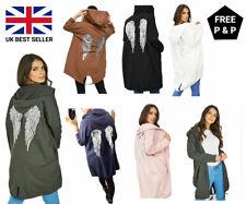 New Ladies Free Soul Sequin Angel Wings Long line Hooded Coat Cardigan Jacket