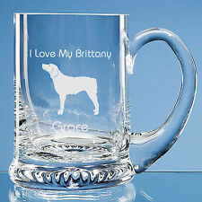 More details for  brittany spaniel dog lover gift personalised engraved handmade glass tankard