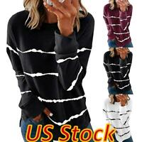 US Women's Striped Print Tunic Tops Loose Long Sleeve Blouse Pullover T-shirt