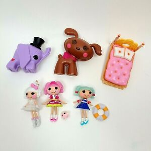 LALALOOPSY Lot of 3 Mini Dolls 2 Full Size Pets Figures Bed