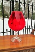 """MCM Large 13"""" Italian Art Glass Twisted Stem Bandy Snifter Optic Red Vase Bowl"""