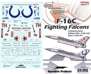 F-16 C Falcon: 113 TFS, Indiana ANG, Colts trim (1/48 decals, Superscale 481217)