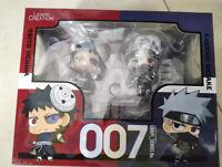 2pcs/set Anime Naruto Hatake Kakashi Uchiha Obito Q Ver. Figure Toy 10cm