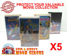 5x VHS MOVIE LARGE CLAMSHELL - CLEAR PLASTIC PROTECTIVE BOX PROTECTORS SLEEVE
