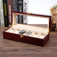 6 Slot Wood Watch Box Display Case Jewelry Storage Organizer Xmas Men's Gift HOT