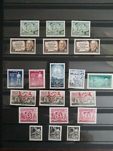 lote Alemania DDR sellos año 1953 1954 1955 incluye MI DD424YI, defecto goma