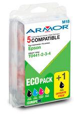 Pack 5 Cartouches d'Encres Compatibles Armor M18 Epson T0441 T0442 T0443 T0444