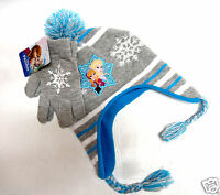 Disney girls FROZEN fleece lined knit hat and gloves set one size OS NEW