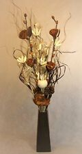 Brown & Cream handmade Bouquet in FREE wood vase (20 warm white LED lights)