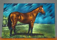 Large Vintage Velvet Painting Portrait of Thoroughbred Horse Full Body 24 x 36