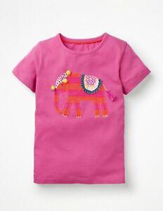 Girls Mini Boden Elephant Applique Pink Short Sleeve T-Shirt 5-6 & 7-8 Years