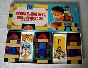 Vintage Wooden Building Blocks - 64 Pieces - Boxed - Pre-owned