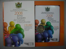 2008 SAN MARINO MONETA FDC BU 2 EURO COMMEMORATIVO DIALOGO INTERCULTURALE FOLDER