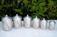 French vintage aluminium metal canisters