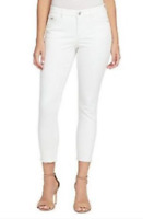 NWT Nine West Womens White Denim Jeans Gramercy Frayed Skinny Ankle 4