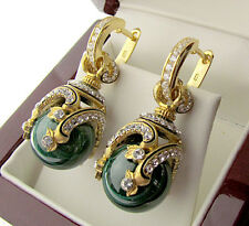 SALE ! STUNNING RUSSIAN GENUINE MALACHITE STERLING SILVER 925 EARRINGS W/ ENAMEL
