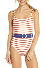Solid & Striped SMALL S Red Breton The Nina Belt Stripe One Piece Swimsuit Blue