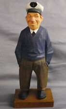 """Rare Trygg Wood Carving Figure Captain Signed No. 53 A Peer Import Sweden 9"""""""