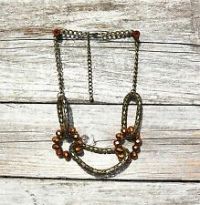 Brass tone links copper color faceted glass  NECKLACE