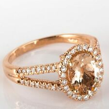 Peach Pink Oval Morganite Natural Diamond Engagement Ring 1.83 Ct 14k Rose Gold