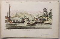 Asien Vietnam Schiffe Ansicht Kupferstich um 1825 Carboni handkoloriert Grafik